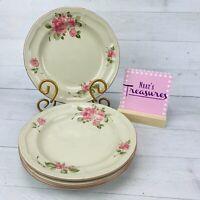 Gibson Designs ROSELAND 856183 Pink Floral Stoneware Salad Dessert Plates Set 4