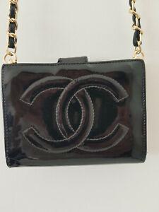 Authentic Chanel wallet on chain woc patent Leather CC Logo Crossbody bag