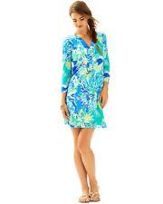 NWT LILLY PULITZER RIVA 3/4 SLEEVE SHIFT DRESS WADE AND SEA Print XS Extra Small