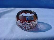 NEW CRYSTAL LEGENDS GODINGER SILVER ART CUT GLASS BOWL CRANBERRY/CLEAR ROMANIA
