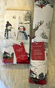 williams sonoma Snowman Reindeer table runner & 8 Dinner napkins Christmas