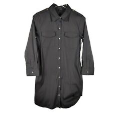 Theory Button Down Shirt Dress Virgilia Wealth Size 8 Black Long Sleeve Roll Tab