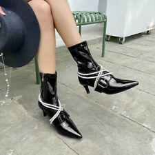 Womens Stylish Patent Leather Pointed Toes Pearl Kitten Heel Ankle Boots Shoes