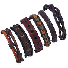 Mens Women Multilayer Leather Braided Bracelet Bangle Wristband Surfer Cuff Wrap