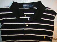 LNC Ralph Lauren Polo XLarge X S/S Soft Black/White/Purple Striped Polo PONY LNC