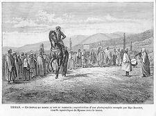 TUNISIE THIBAR DANSE DU CHEVAL AU SON DU TAMBOUR GRAVURE ENGRAVING 1901