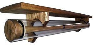 Baseball Bat Display Case Wall Mount Thick Acrylic Tubing Ash Wood with Shelf