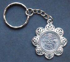1967 50th birthday lucky Sixpence Pendant Charm key ring wedding + free gift box