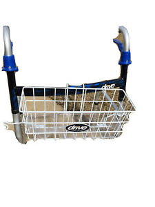 Walker Basket Storage Carrying w/Plastic Insert Tray Cup Holder, White