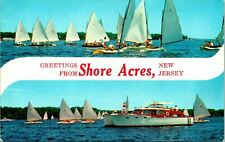 Shore Acres Nj Greetings Sailboats Boats Yacht Water Postcard unused (22961)
