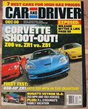 DECEMBER 2008 CAR AND DRIVER MAGAZINE CORVETTE Z06 vs ZR1 vs Z51, BUGATTI VEYRON