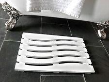Wave Design Solid Beech Wooden Duck Board Bathroom Shower Mat - White Satin