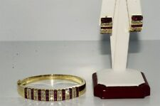 10.83CT NATURAL RUBY & DIAMOND BANGLE & EARRING MATCHING SET 14K GOLD