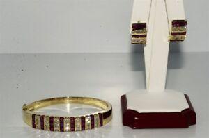 $19,550 10.83CT NATURAL RUBY & DIAMOND BANGLE & EARRING MATCHING SET 14K GOLD