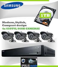SAMSUNG SECURITY CCTV SYSTEM 4 NIGHT VISION CAMERAS 1TB DVR RECORDER & MOBILE V