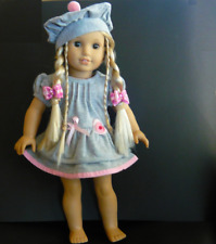 """AMERICAN GIRL DOLL CLOTHES OUTFIT WARM DRESS CAP & 2 HAIRBOWS for 18"""" AG DOLLS"""