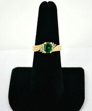 #8732- Stunning Natural Brazilian Emerald Ring With Diamond Accents - Sz 6