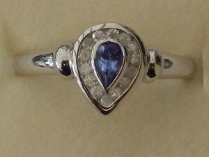BEAUTIFUL NEW 9CT WHITE GOLD TANZANITE & DIAMOND RING R8938W