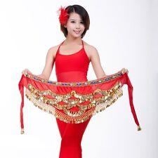 SH328# Gold Coins Colorful Diamonds Velvet Belly Dance Hip Scarf/Belt 9 Colors