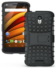 iDefend Motorola Moto X Force Black Heavy Duty Shockproof Hard Case Cover