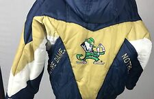 VINTAGE PRO-PLAYER NOTRE DAME FIGHTING IRISH HOODED Partial Zip Pullover Puffy