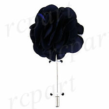 "New in box formal Men's Suit chest brooch navy blue solid 2"" flower lapel pin"