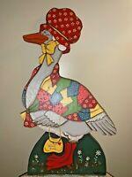 Antique Primitive Calico Country Duck Goose Wall Art 18x10 Wooden Plaque ❤️tb9j4