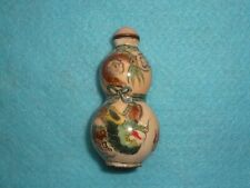 Unusual Enamel CHINESE DOUBLE GOURD SNUFF BOTTLE HAND PAINTED DRAGONS #2