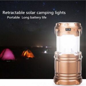 Solar Rechargeable LED Flashlight Power Camping Tent Light Torch Lantern Lamp us
