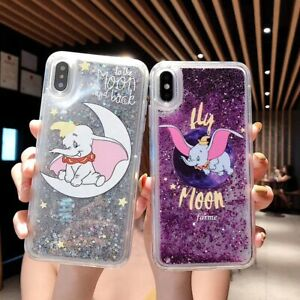 Liquid Dynamic Quicksand Elephant Dumbo Phone Case For iPhone X XS Max XR 6 7 8