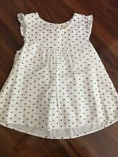 Matilda Jane Miss Matilda Top Blouse Tunic White Navy Blue Swiss Dots Size 8 EUC