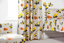 "Diggers 66"" x 54"" Childrens Nursery Bedroom Curtains & Tiebacks Pencil Pleat Kid"