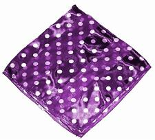 "SCARF Small 20"" Square White On Royal Purple Background POLKA DOTS"