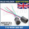 T10 W5W 501 505 507 Capless Wedge Bulb Holder Socket Soft Fitting 6v 12v 24v
