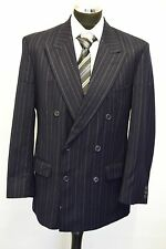 MS587 MARKS AND SPENCER  MEN'S STRIPED NAVY 100% WOOL 2PC SUIT CHEST 40M W34 L29