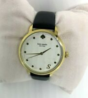 """NWT kate spade Monogram Watch """"S"""" initial KSW9009S Black Leather Band MSRP $195"""