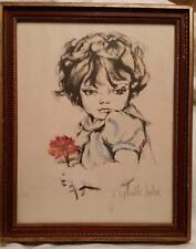 HYACINTHE KULLER BARON Girl with Flower? COLORED LITHOGRAPH SIGNED NUMBERED