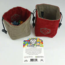 Third Die Dice Bags - Handmade, Reversible, Free Standing Closes Tight - Crimson