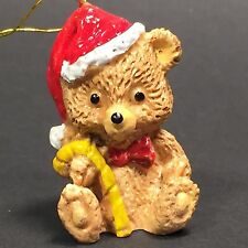"Santa Bear Cub with Candy Cane Ornament Christmas Tree Holiday 1 1/2"" Adorable"