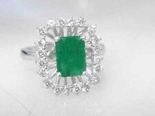 2.65CT Genuine Natural Untreated Emerald & Diamond Ring In Solid 14K White Gold