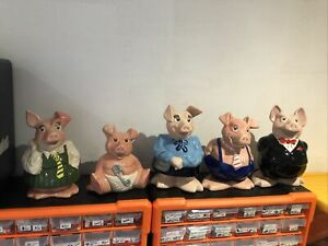 NATWEST PIGS FULL SET OF 5 PIGGY BANKS IN MINT CONDITION
