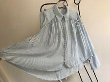 New Free People white sky blue stripe sheer chiffon top vest blouse XS S 6 8 10