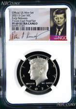 2021 S Proof Kennedy Half Dollar 50c NGC PF69 UC ER 7-Coin-Clad-PF-SET Version