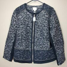 Chicos Pieced Jacquard Tweed Jacket Womens  3/XL/16