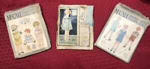 1920s McCalls Lot Of 3 Children's Clothing Sewing Patterns. Original & Complete