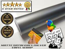 3M x 1.5M Matte Grey/Silver Vinyl Wrap w/ Air Release Bubble Free Application