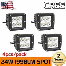 4X 3inch 24W CREE LED Work Light Cube Pods Offroad Boat Spot Driving Lamp Truck