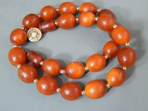 "Antique Vintage Egg Yolk Butterscotch Baltic Amber Bead Necklace 18"" ~ 42g"