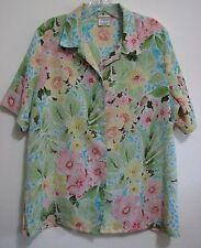 Allison Daley Pastel Floral 14 Crinkle Polyester S/S Button Blouse Shirt Top
