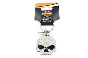 Harley-Davidson Willie G Sugar Skull Enamel Silver Keychain